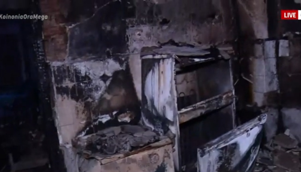 Ολοκληρωτική καταστροφή από φωτιά σε διαμέρισμα στη Θεσσαλονίκη Φωτογραφία: ScreenShot via Mega